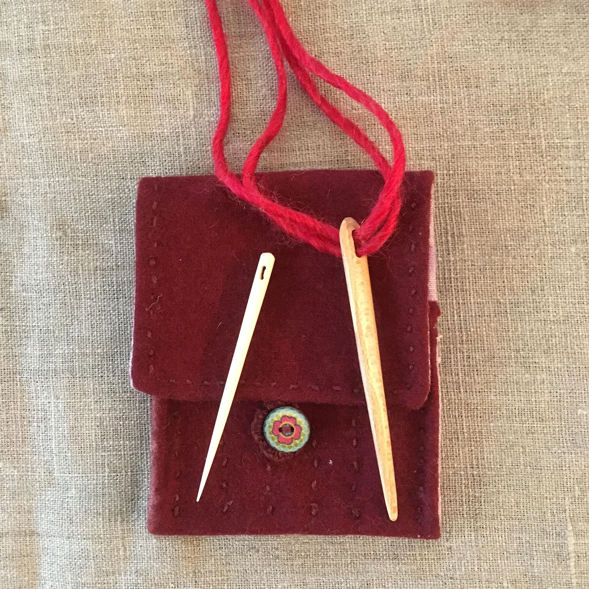 Red Bone Wood Nalbinding Needle Case
